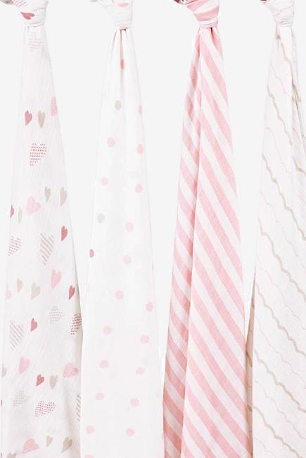 Муслиновые пеленки для новорожденных Aden&Anais большие, набор 4, Heart Breaker
