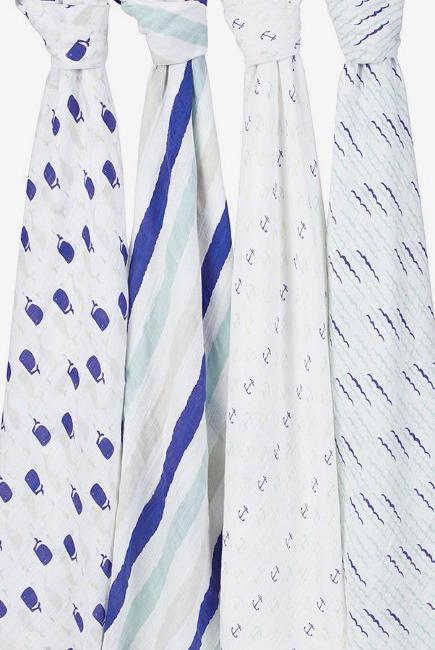 Муслиновые пеленки для новорожденных Aden&Anais большие, набор 4, High Seas