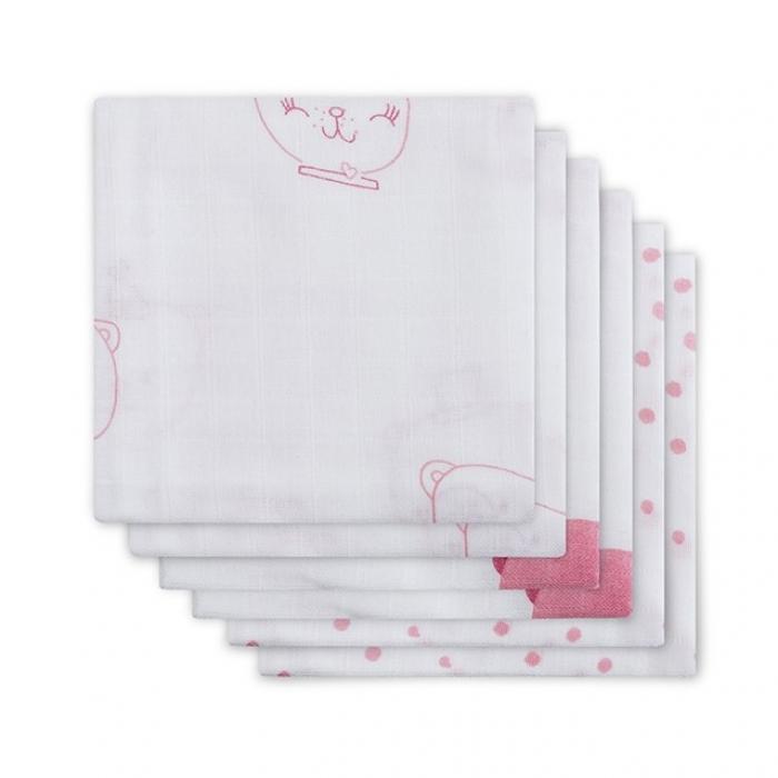 Муслиновые пеленки для новорожденных Jollein средние, Funny Bear Pink