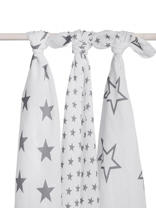 Муслиновые пеленки для новорожденных Jollein большие, Little Star Grey