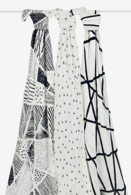Бамбуковые пеленки для новорожденных Aden&Anais большие, набор 3, Midnight