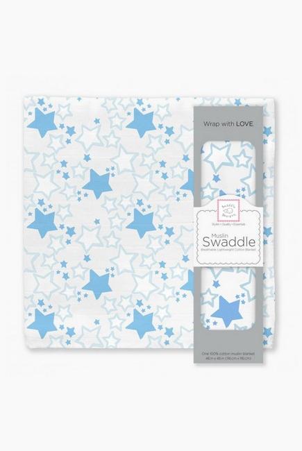 Муслиновая пеленка для новорожденных Swaddle Designs большая, Blue Starshine