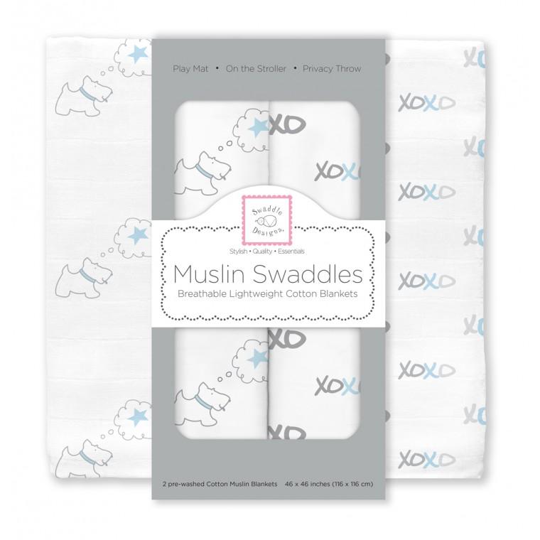 Муслиновые пеленки для новорожденных SwaddleDesigns большие, Blue Doggie XOXO