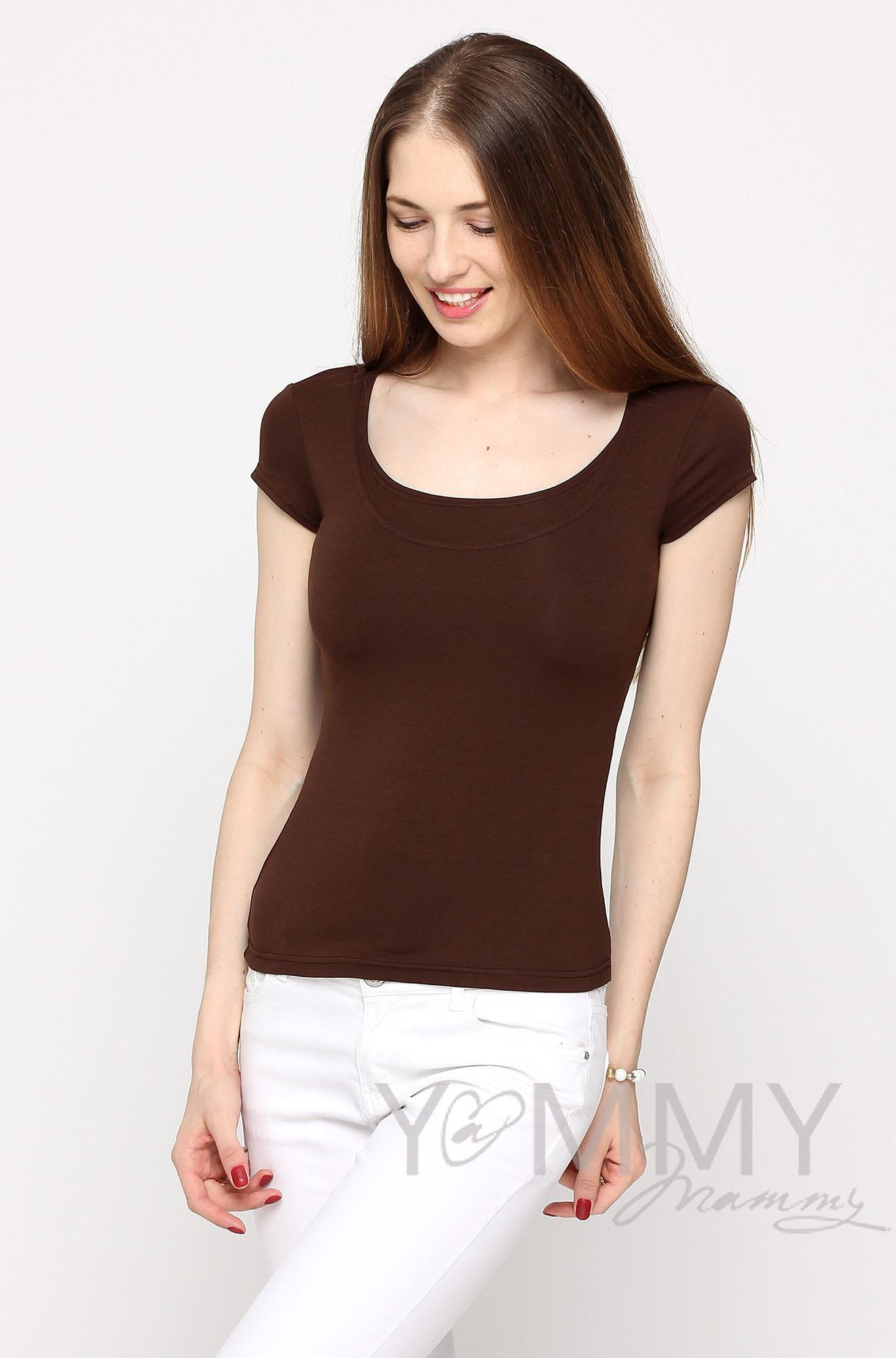 Майка для беременных и кормящих, цвет коричневый