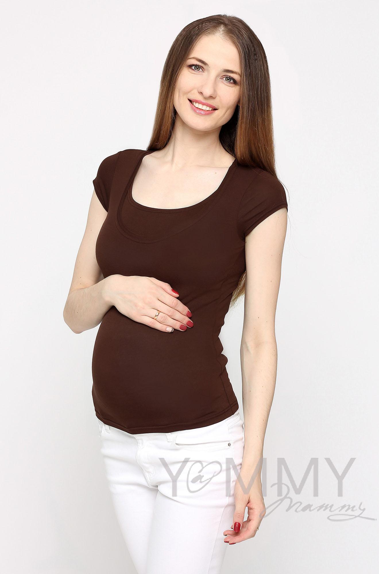 Футболка для беременных и кормящих, цвет коричневый