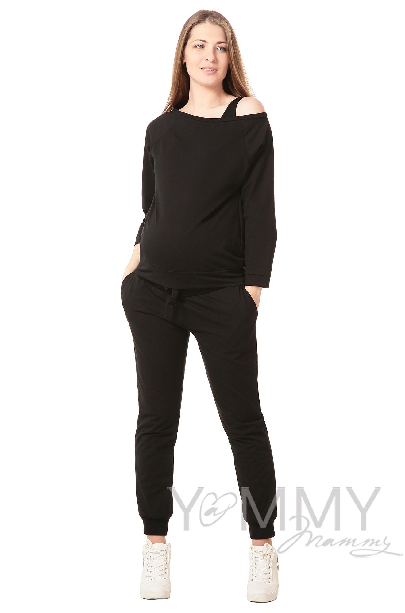 Джемпер со спущенным плечом для беременных и кормящих, черный