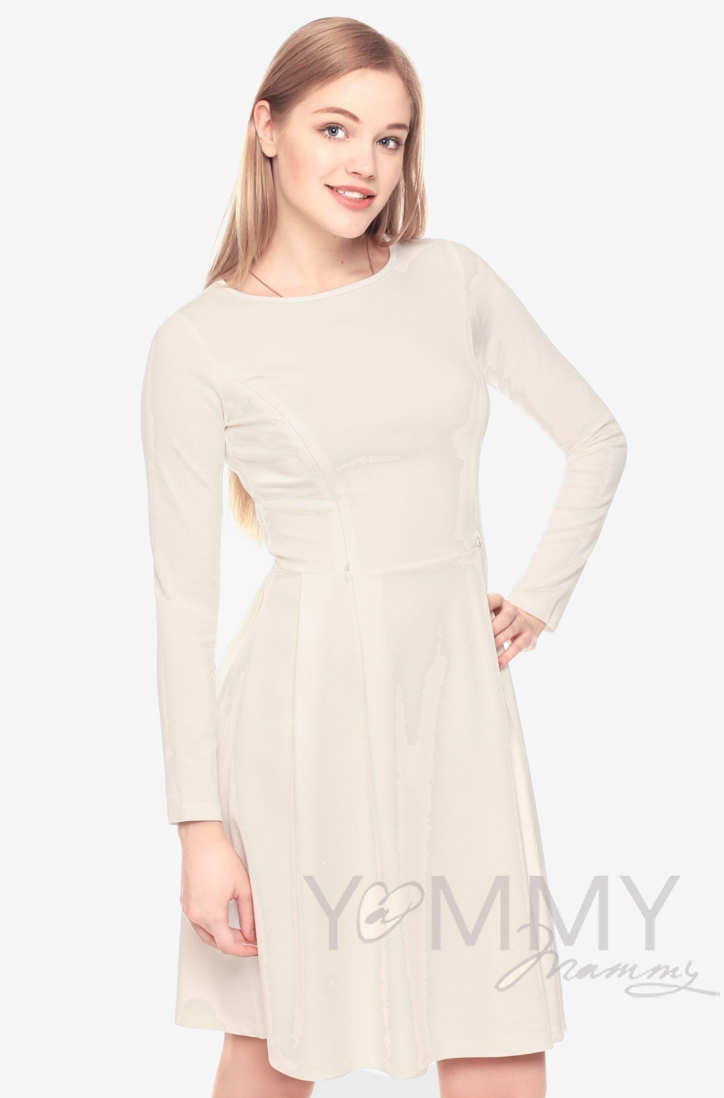 Платье со склПлатье для беременных и кормящих со складками, экрюадками экрю для беременных
