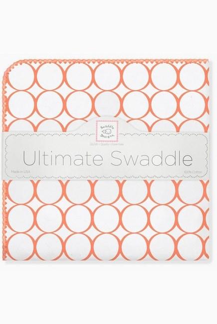 Фланелевая пеленка для новорожденного SwaddleDesigns Orange Mod/WH