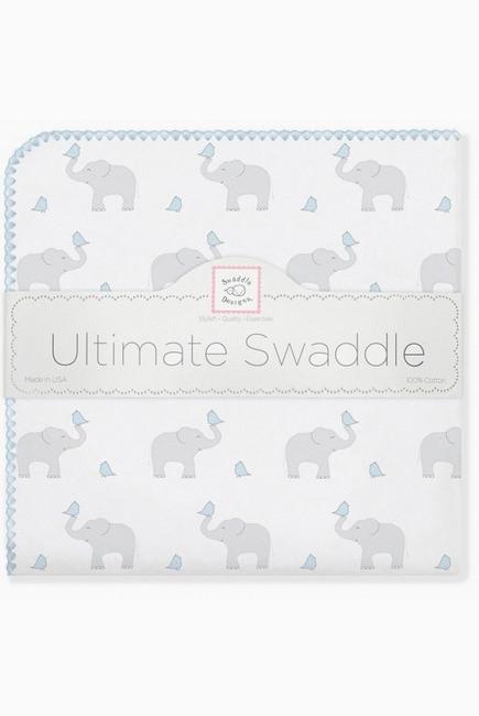 Фланелевая пеленка для новорожденного SwaddleDesigns PB Elephants/Chicks