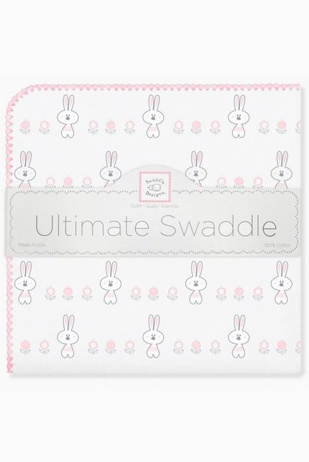 Фланелевая пеленка для новорожденного SwaddleDesigns Ultimate Garden Bunnie Pink