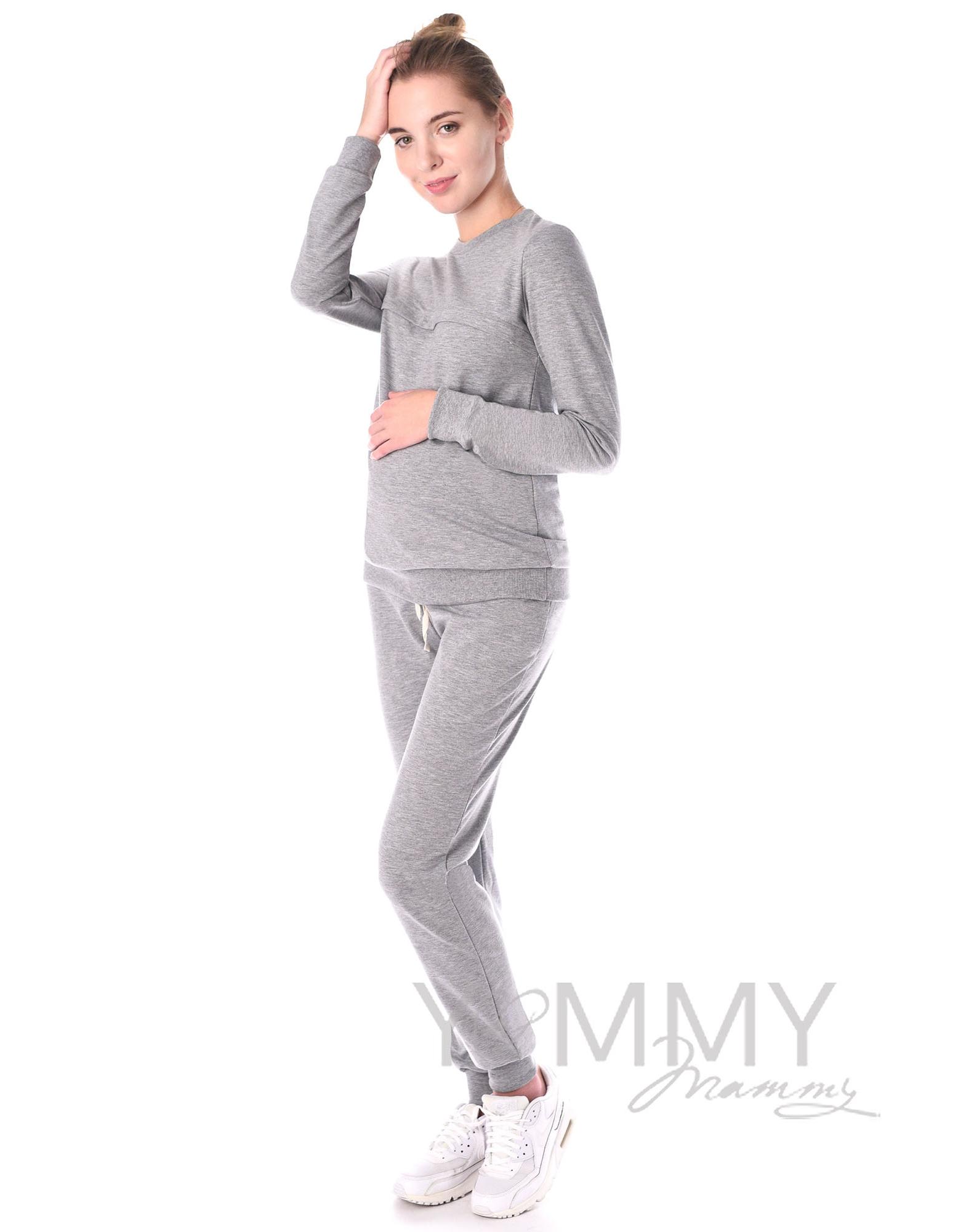 ... Свитшот для кормящих и беременных с секретом на молнии, серый меланж ... bc261608230