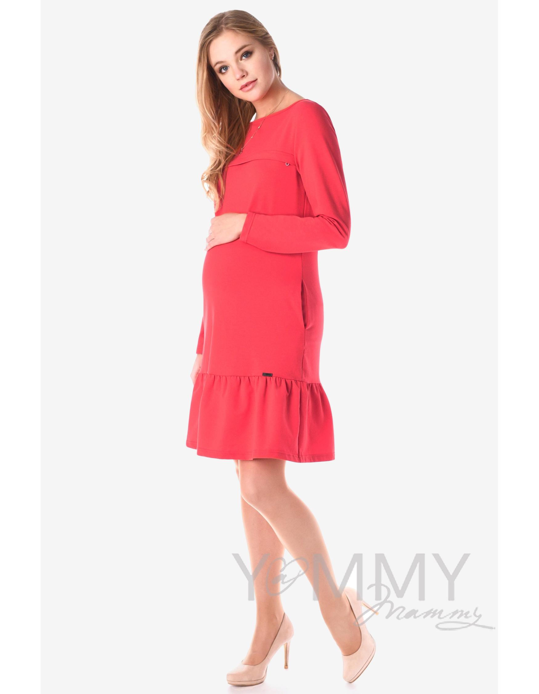 654d33eca3d6 Платье для беременных и кормящих с воланом, коралл - скидка - купить ...