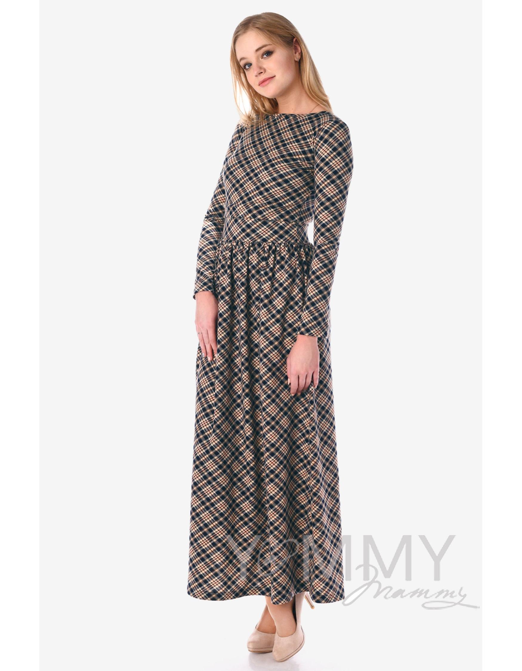 Платье для беременных и кормящих с карманами, в бежевую темно-синюю клетку  ... c0522f12a3d