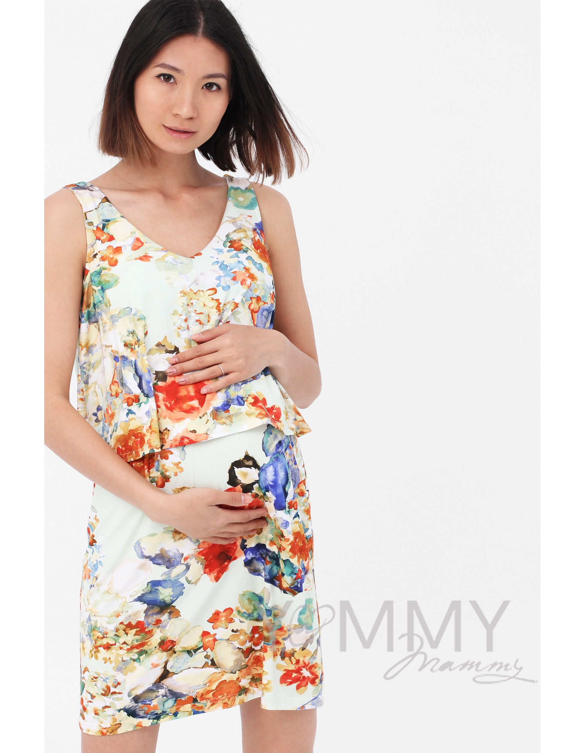 b0ced32ee527e39 Платье для кормящих и беременных двухъярусное с цветочным принтом, ...