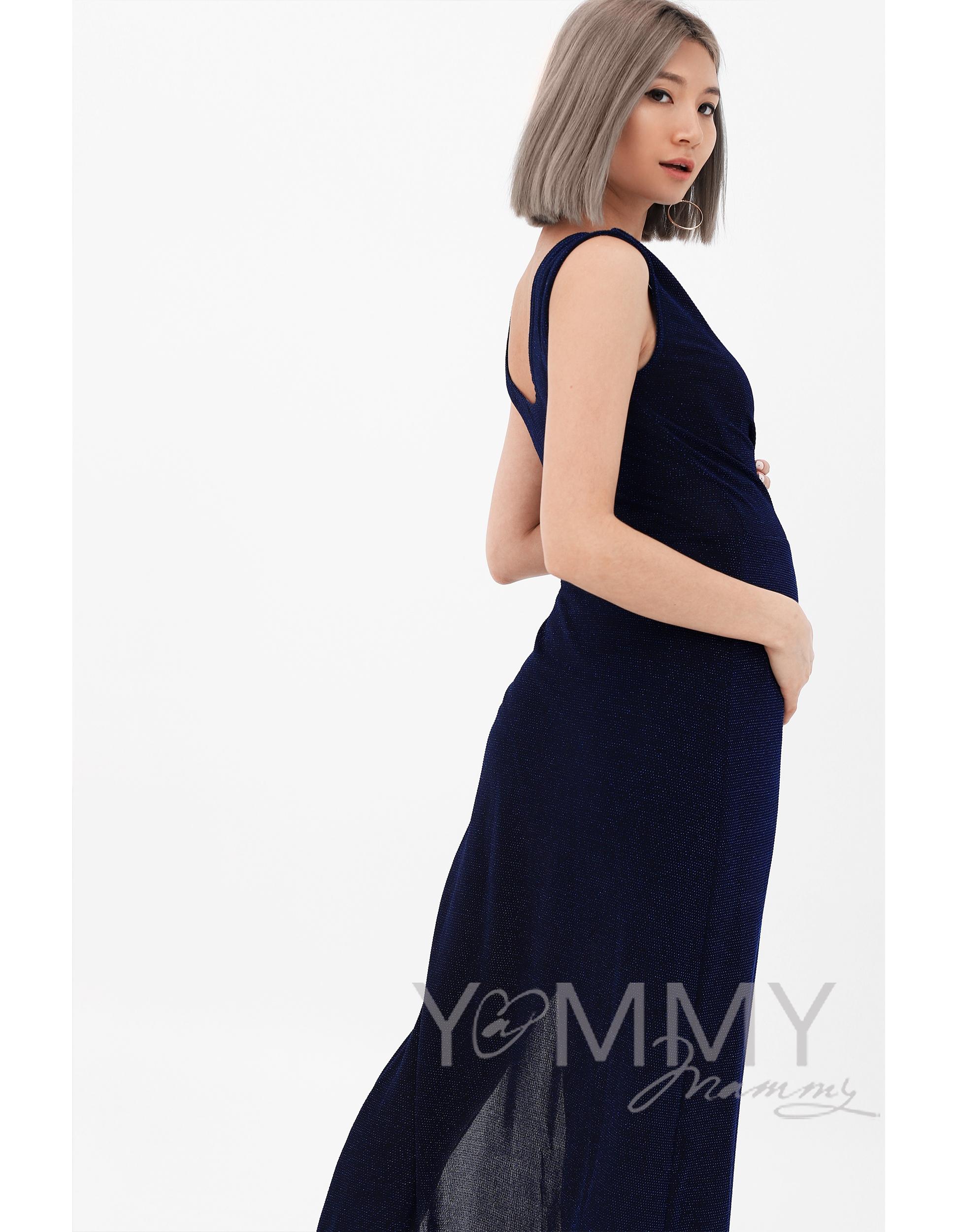 ... синее Вечернее платье для беременных и кормящих длинное с разрезом, ... ca381aa54ca