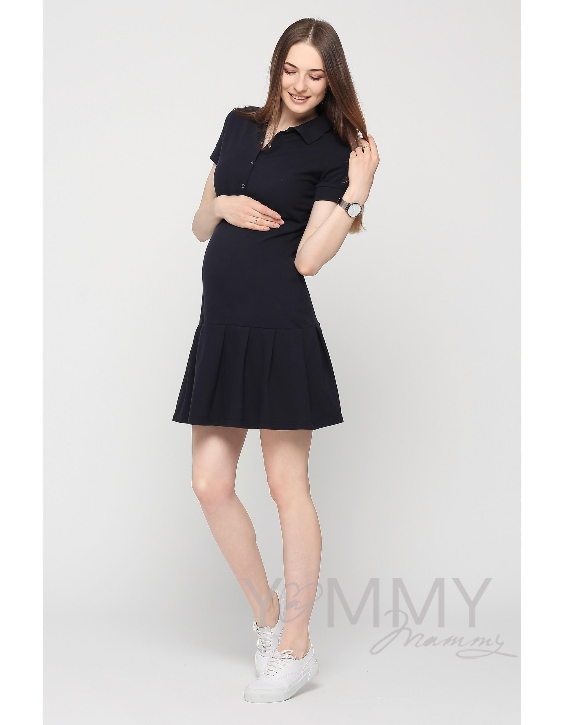 cfdf5296e882f65 Платье поло для кормящих и беременных с воланом, темно-синее ...