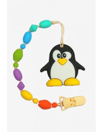 Силиконовый прорезыватель с держателем Пингвин