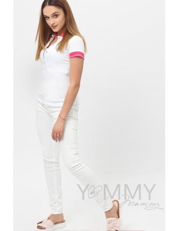 Футболка поло для беременных и кормящих, белая с розовым воротником
