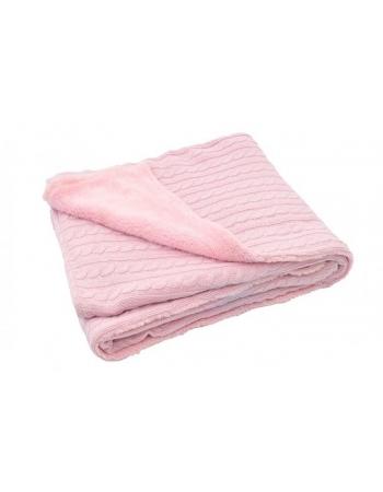 """Вязаный плед с мехом для новорожденных (косичка) Jollein, """"светло-розовый"""", большой"""