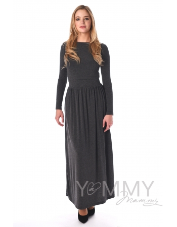 Платье длинное с карманами темно-серый меланж для кормящих