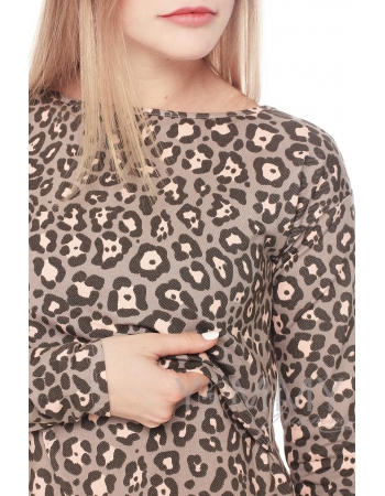 Платье с длинным рукавом с леопардовым принтом для кормящих