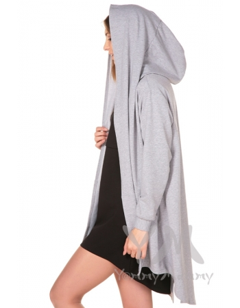 Кардиган с капюшоном для кормящих и беременных, серый меланж