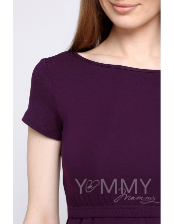 Платье для кормящих и беременных из вискозы, темно-лиловое
