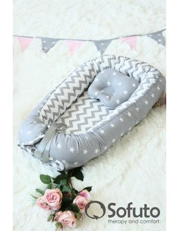 Кокон-гнездышко для новорожденных Babynest Stars and Waves Silver