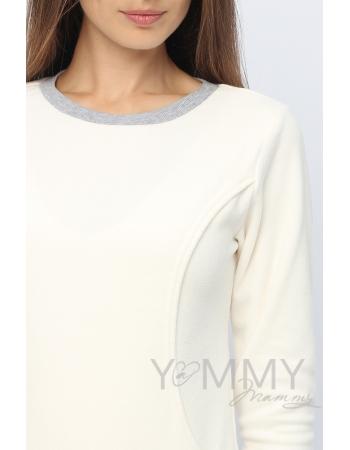 Джемпер для кормящих и беременных флисовый, цвет экрю
