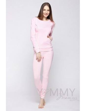 Домашний костюм для кормящих и беременных белая/розовая полоска