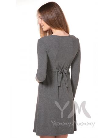 Платье с пояском на спине для беременных и кормящих, серый меланж
