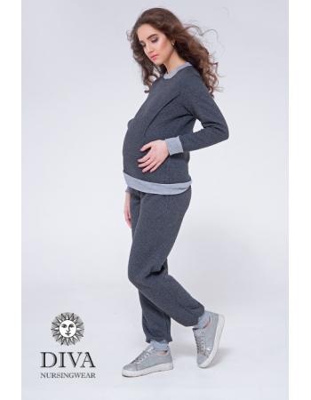 Костюм для кормящих и беременных из капитония Diva Amelia, Grafite