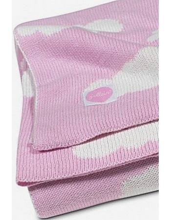 Вязаный плед для новорожденных Jollein Облака, розовый