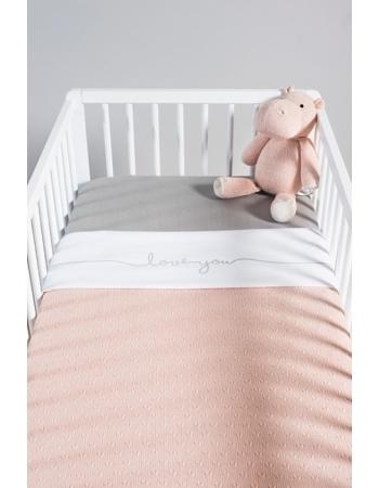 Вязаный плед для новорожденных Jollein Soft, персиковый