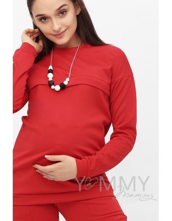 Костюм из плотной вискозы Костюм для кормящих и беременных из плотной вискозы, цвет алый