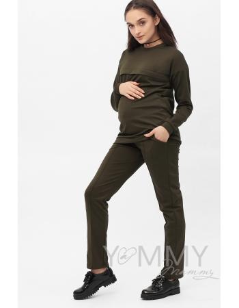 Костюм из плотной вискозы Костюм для кормящих и беременных из плотной вискозы, цвет хаки