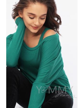 Блуза летучая мышь для кормящих и беременных, изумрудная