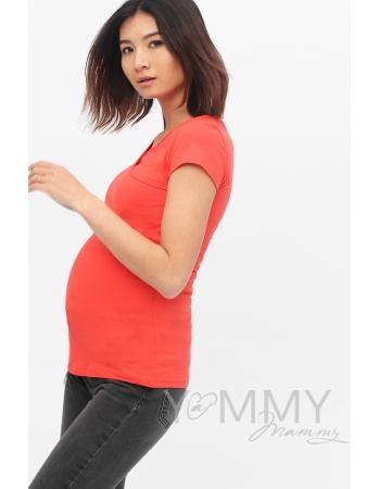 Футболка для кормящих и беременных, цвет алый