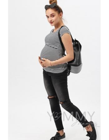Футболка для беременных и кормящих, белая в синюю полоску