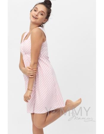"""Комплект халат с сорочкой розовый """"зиг-заг"""""""