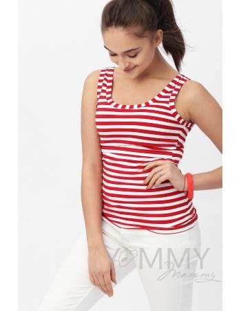 Майка для кормящих и беременных, в красную полоску