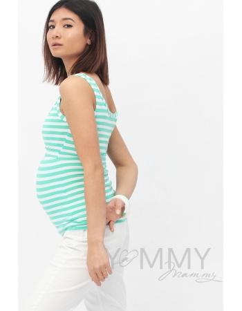 Майка для кормящих и беременных, в ментоловую полоску