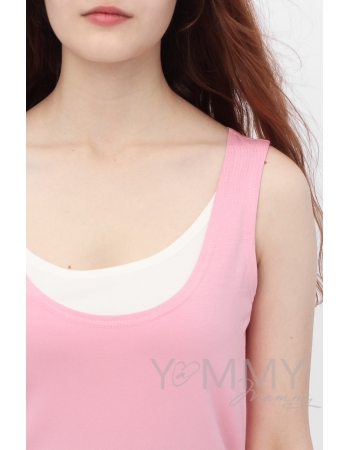 Майка для кормящих и беременных, цвет розовый с белым