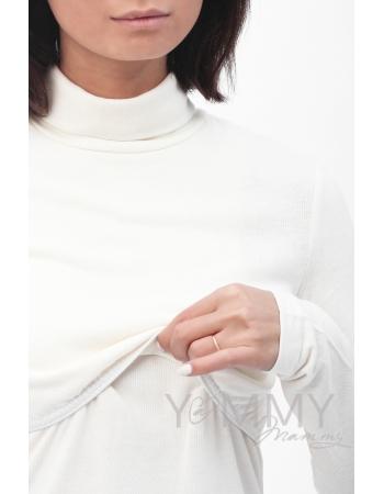 Водолазка со сборкой по низу для беременных и кормящих, цвет экрю