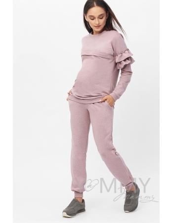 Костюм для кормящих и  беременных, розовый меланж