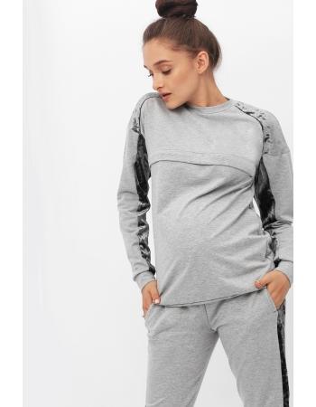Костюм для кормящих и  беременных с отделкой из велюра, серый меланж