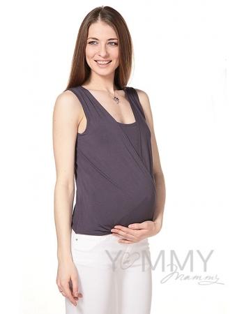 Топ с запахом для кормящих и беременных, антрацит