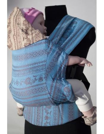 Эрго-рюкзак Karaush шарфовый с бамбуком двусторонний, Toffee/Turquoise
