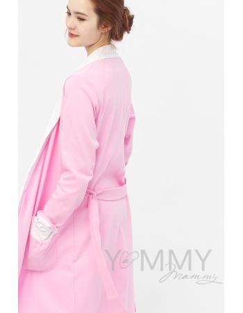 Халат розовый с отделкой в розовый горошек