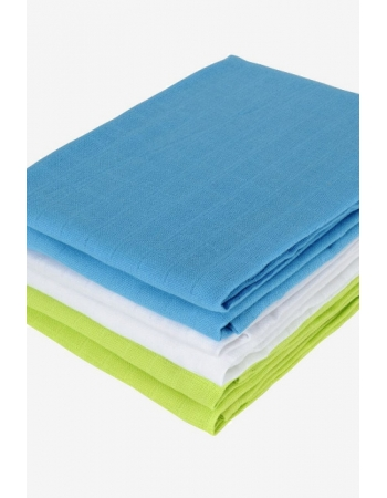 Муслиновые пеленки для новорожденных Jollein средние, lime/aqua/white